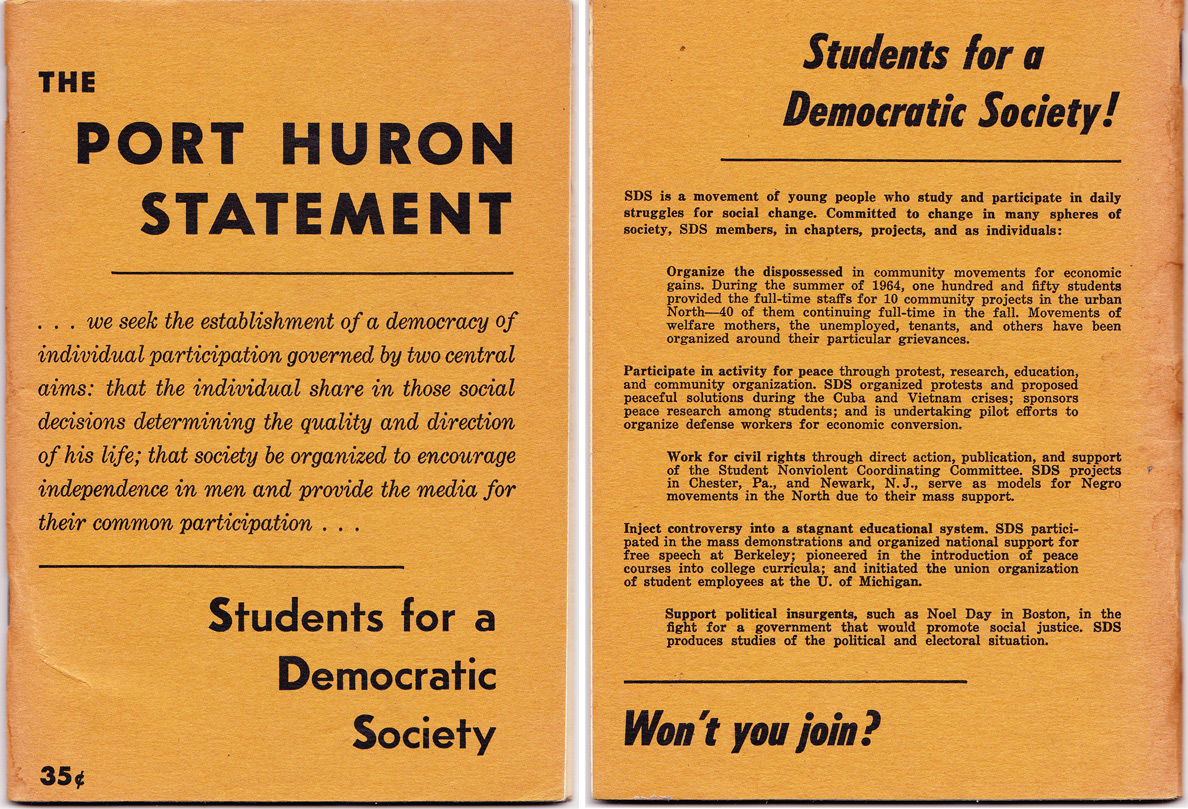 summary port huron statement The port huron statement was composed in the heady interlude of inspiration between the apathetic 1950s and the 1960s' sudden traumas of political assassinations and body counts forty years later, we may stand at a similar crossroads.