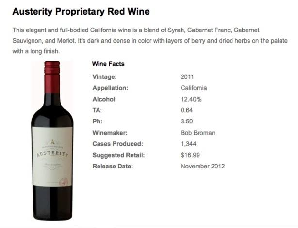 austerity wine