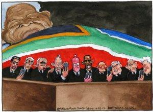 11.12.13: Steve Bell on world leaders taking selfies at the Mandela memorial
