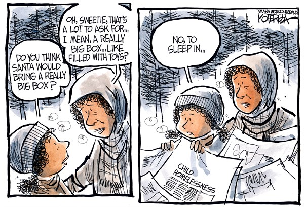 "Jeff Koterba cartoon for November 19, 2014""Homeless children"""