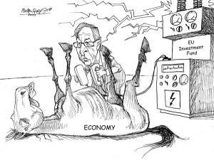karikatur für tribüne- belebensversuch