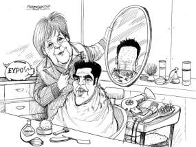 karikatur für tribüne-neuer haarschnitt