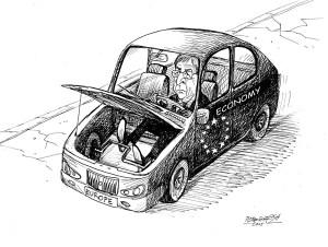 karikatur für tribüne-frontantrieb