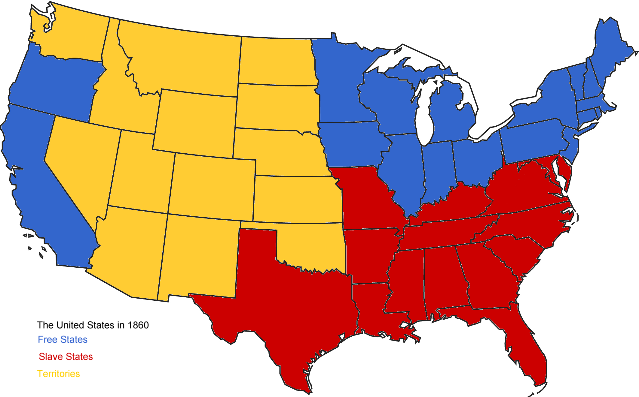 Maps Of The United States RealWorld Economics Review Blog - Us slave states map
