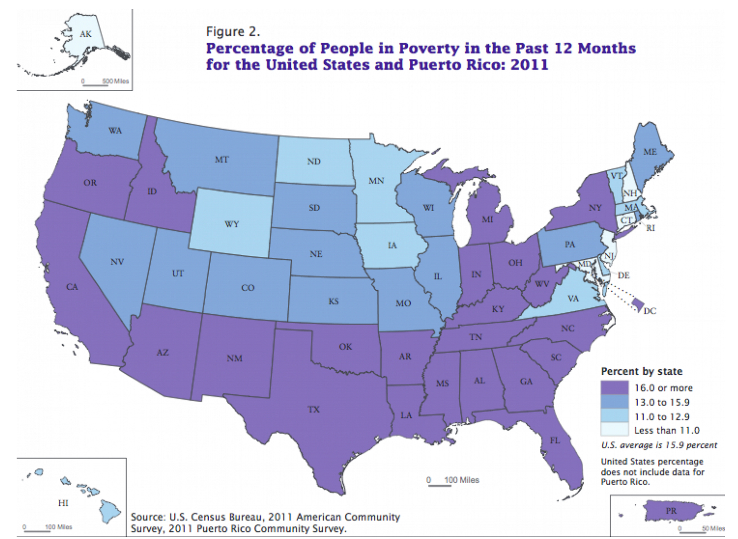 here for comparison are some additional mapsstarting with slave and free states in 1860 rates of poverty in 2011 and red and blue states in 2014