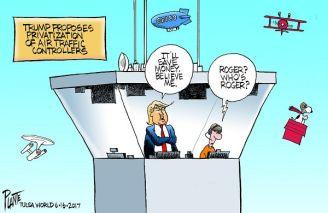 Bruce Plante Cartoon: Trump and air traffic controllers