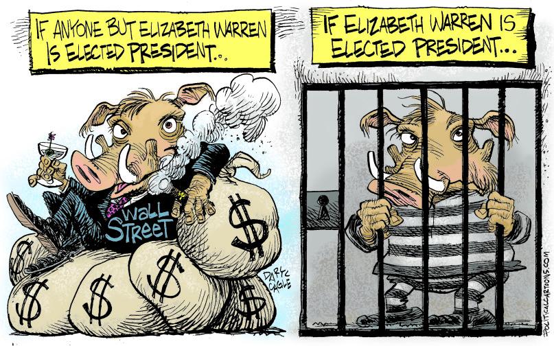 1_political_cartoon_u.s._elizabeth_warren_wall_street_wart_hogs_jail_time_-_daryl_cagle_cagle