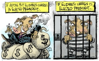 1_political_cartoon_u.s._elizabeth_warren_wall_street_wart_hogs_jail_time_-_daryl_cagle_cagle